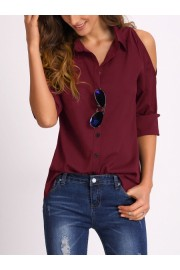 Open Shoulder Collared Shirt - My look - $15.00