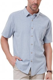 PAUL JONES Men's Casual Short Sleeve Button Down Shirt Cotton Striped Shirts - My look - $16.99