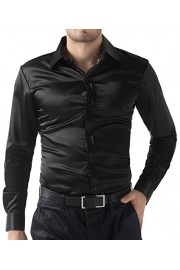 PAUL JONES Men's Slim Fit Silk Like Satin Luxury Dress Shirt - My look - $14.99