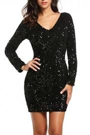 PEATAO Glam Sequin 3/4 Sleeve Club Dress Vegas Sexy Plunging V Neck Dress Womens Sexy Black Sequin Dress Dresses - My look - $25.19