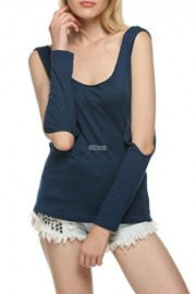 PEATAO Women Fashion Casual O-Neck Off-Shoulder Cross Backless Tops Slim Bottoming Shirt - My look - $26.99