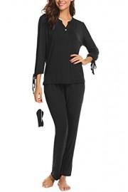 PEATAO Women's Pajama Sets Casual Long Sleeve Elastic Waist Sleepwear with Eye Mask - My look - $15.99