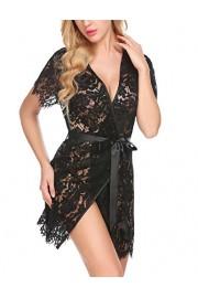 PEATAO Women's V-Neck Lace Lingerie Kimono Sexy Pajamas Set with Silk Belt - My look - $12.99