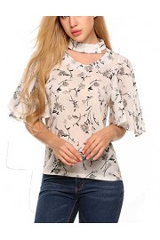 POETSKY Women Casual Stand Collar Flare Short Sleeve Shirt Chiffon Blouse Top - My look - $13.99