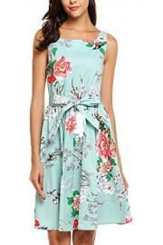 POETSKY Women Floral Printed Belted Backless Party A Line Sleeveless Dress - My look - $23.99