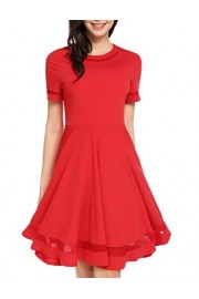 POETSKY Women Short Sleeve Patchwork Pleated Round Neck Flared Short Dress - My look - $21.99