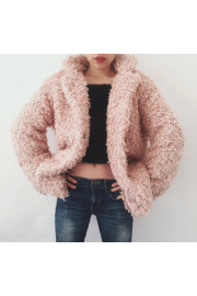 Pink Teddy Bear Jacket in a long thick c - Il mio sguardo - $69.99  ~ 60.11€