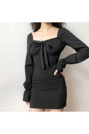 Pleated square collar halter lace dress - My look - $25.99