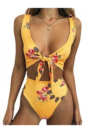 Poetsky Womens Floral Bandage Tie Front High Waist Padding Bikini Set Two Piece Swimsuit - My look - $13.99