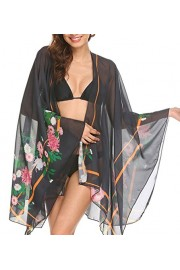 Poetsky Womens Floral Print Chiffon Open Front Long Sleeve Kimonos Bikini Summer Beachwear Cover Up - My look - $13.99