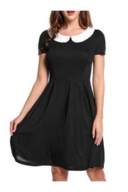 Poetsky Womens Peter Pan Doll Collar Short Sleeves Contrast Color High Waist Casual A-Line Party Dress - My look - $33.99