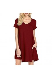 Poetsky Womens Short Sleeve V Neck Casual Loose Tunic T-Shirt Dress With Pockets - My look - $14.99