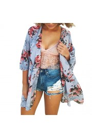 Poetsky Women's Summer Floral Chiffon Coverup Blouse Short Sleeve Kimono Cardigan Capes - My look - $14.99