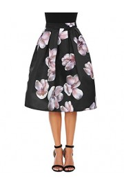 Poetsky Women's Vintage A Line High Waist Floral Printed Pleated Midi Skirts - My look - $24.99