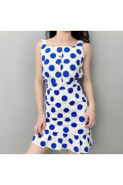 Polka-dot dress with high waist fishtail - My look - $29.99