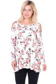 Popana Open Cut Out Cold Shoulder Tunic Top For Women - Long Sleeve Top For Leggings - Made In USA - My look - $12.99