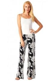 Popana Women's Casual Wide Leg Bohemian Flare Print Palazzo Pants - Made In USA - My look - $24.99