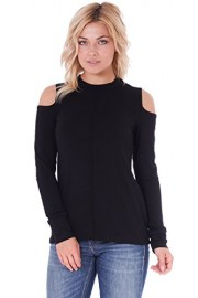 Popana Women's Cold Shoulder Top - Long Sleeve Cut Out Shoulder Style - Made In USA - My look - $19.99
