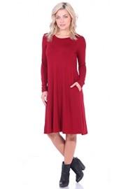 Popana Womens Dress With Pockets Long Sleeve - Below The Knee Length Swing Fall Dress - My look - $24.99