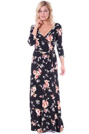 Popana Women's Faux Wrap Casual Maxi Dress with Sleeves - Made in USA - My look - $29.99