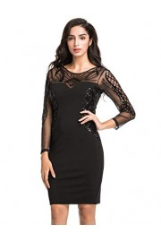 PrettyGuide Women Cocktail Dress Sequin Deco Long Sleeve Sheath Pencil Formal Dress - My look - $29.99
