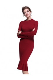 PrettyGuide Women Mock Neck Elegant Fishtail Wiggle Ruffle Midi Sweater Dress - My look - $29.99