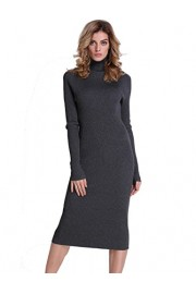 PrettyGuide Women Sweater Dress Turtleneck Ribbed Knit Slim Fit Long Sleeve Midi Dress - My look - $23.99