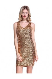 PrettyGuide Women's Sexy Deep V Neck Sequin Glitter Bodycon Stretchy Mini Party Dress - O meu olhar - $16.99  ~ 14.59€
