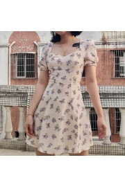 Puff Sleeve Square Halter Dress Floral P - My look - $27.99