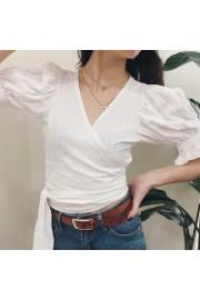 Puff Sleeve Wrap Shirt Long Lace-Up Holi - My look - $27.99