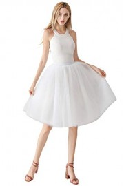 ROSE IN THE BOX Adult Short A Line Elastic Pleated Petticoats Midi Gown Tulle Skirt for Women - Moj look - $17.59  ~ 15.11€