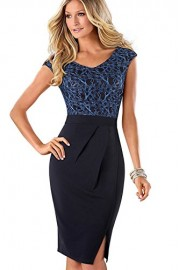 ROSE IN THE BOX Retro V-Neck Lace Cap Sleeve Cocktail Bodycon Pencil Dress - Moj look - $25.99  ~ 22.32€