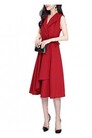 ROSE IN THE BOX Women Cotton-Flax Summer Sleeveless A-line Pleated Party Cocktail Dress with Belt - Moj look - $27.90  ~ 23.96€