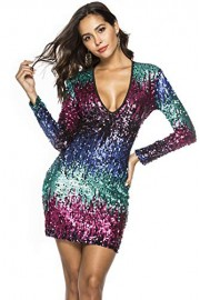 ROSE IN THE BOX Women Deep V Neck Sequin Gilter Stretchy Bodycon Party Club Mini Dresses - Moj look - $24.99  ~ 21.46€