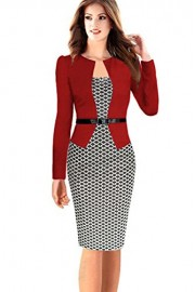 ROSE IN THE BOX Women's 3/4 Sleeve Pencil Wear to Work Business Dress - Moj look - $22.99  ~ 19.75€