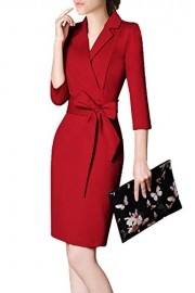ROSE IN THE BOX Women's 3/4 Sleeve V-Neck Work Dress with Belt - Moj look - $26.99  ~ 23.18€