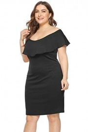 ROSE IN THE BOX Women's Ruffle Plain Off Shoulder Pencil Dresses Plus Size for Work - Moj look - $17.99  ~ 15.45€