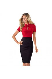 ROSE IN THE BOX Womens Short Sleeve Elegant Slim Bodycon Business Pencil Dress - Moj look - $23.99  ~ 20.60€