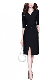 ROSE IN THE BOX Women's Wear to Work Dress 3/4 Sleeve V-Neck Bodycon Formal Office Wedding Dresses with Belt - Mein aussehen - $27.99  ~ 24.04€