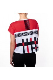 Red Black Geometric Graphic Tee - Catwalk - $46.00
