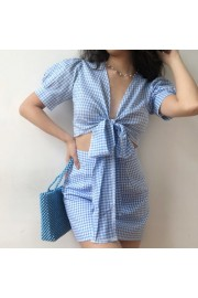 Retro Blue and White Plaid Banded Puff S - My look - $37.99