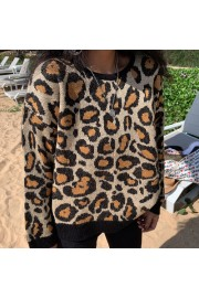 Retro Leopard Pullover Knitted Jacket - My look - $28.99
