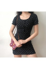 Retro Puff Sleeve One-Shoulder Polka Dot - My look - $27.99