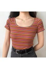 Retro Rainbow Striped Knit Short Sleeve - Moj look - $25.99  ~ 22.32€