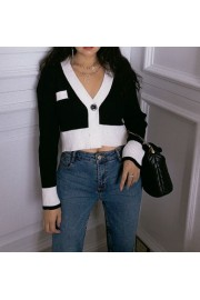 Retro V-neck one button short knit sweat - My look - $28.99