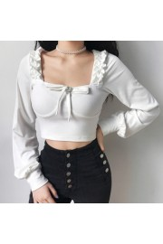 Retro White Bow Irregular Ruffled Long S - My look - $25.99