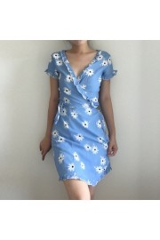 Retro blue flowers ruffled one-piece hol - My look - $27.99