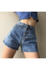 Retro high waist student casual pocket wide leg jeans - My look - $28.99