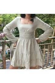 Retro square collar dress waist lantern - My look - $27.99
