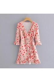 Ruffled cherry print dress - O meu olhar - $27.99  ~ 24.04€